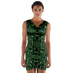 An Overly Large Geometric Representation Of A Circuit Board Wrap Front Bodycon Dress