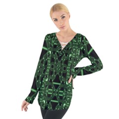 An Overly Large Geometric Representation Of A Circuit Board Women s Tie Up Tee