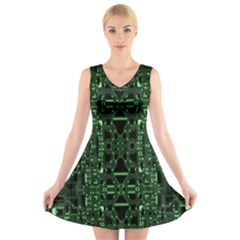 An Overly Large Geometric Representation Of A Circuit Board V Neck Sleeveless Skater Dress