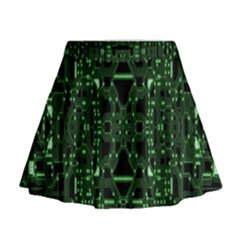 An Overly Large Geometric Representation Of A Circuit Board Mini Flare Skirt