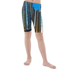 Two Abstract Architectural Patterns Kids  Mid Length Swim Shorts