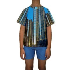 Two Abstract Architectural Patterns Kids  Short Sleeve Swimwear