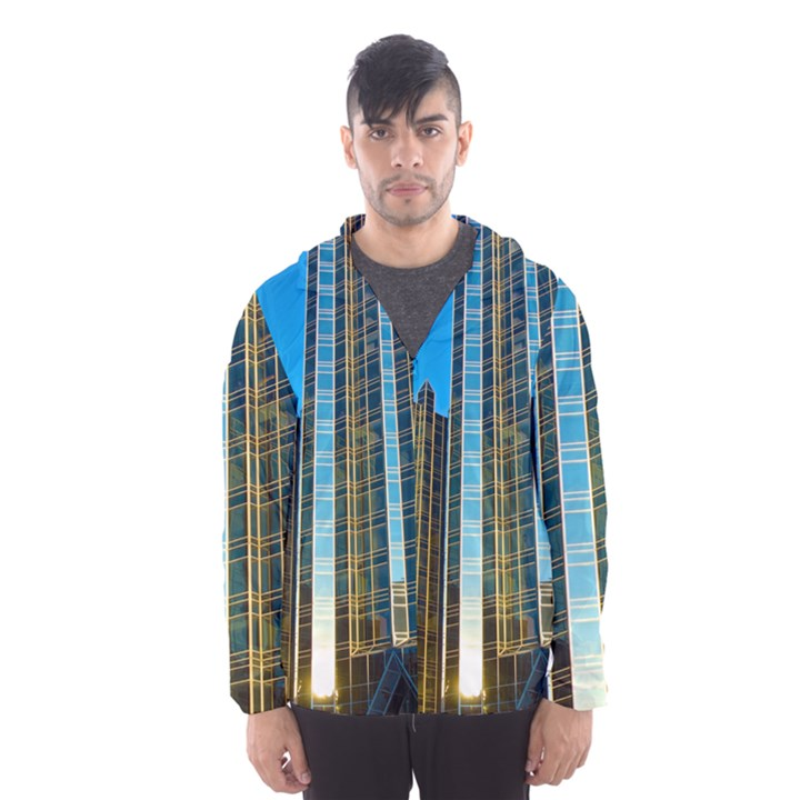 Two Abstract Architectural Patterns Hooded Wind Breaker (Men)