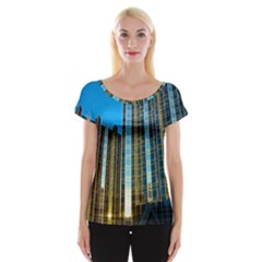 Two Abstract Architectural Patterns Women s Cap Sleeve Top