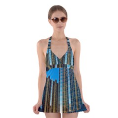 Two Abstract Architectural Patterns Halter Swimsuit Dress