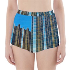 Two Abstract Architectural Patterns High-Waisted Bikini Bottoms