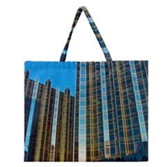 Two Abstract Architectural Patterns Zipper Large Tote Bag