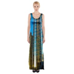 Two Abstract Architectural Patterns Maxi Thigh Split Dress