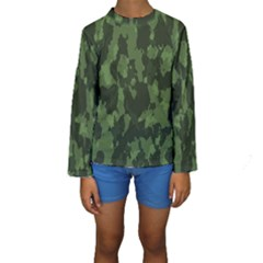 Camouflage Green Army Texture Kids  Long Sleeve Swimwear