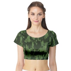 Camouflage Green Army Texture Short Sleeve Crop Top (tight Fit)