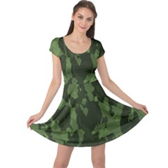 Camouflage Green Army Texture Cap Sleeve Dresses