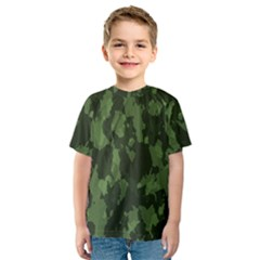 Camouflage Green Army Texture Kids  Sport Mesh Tee