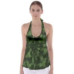 Camouflage Green Army Texture Babydoll Tankini Top