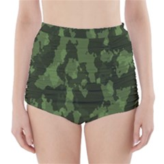 Camouflage Green Army Texture High-Waisted Bikini Bottoms