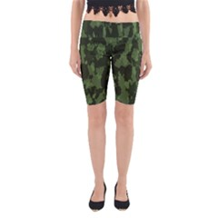 Camouflage Green Army Texture Yoga Cropped Leggings