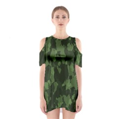 Camouflage Green Army Texture Shoulder Cutout One Piece