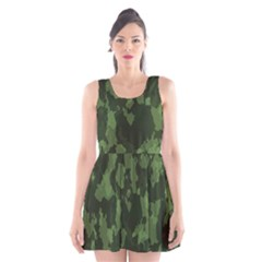 Camouflage Green Army Texture Scoop Neck Skater Dress