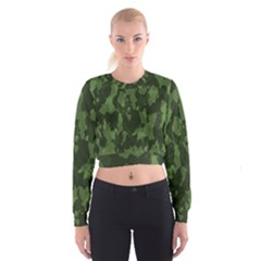 Camouflage Green Army Texture Women s Cropped Sweatshirt