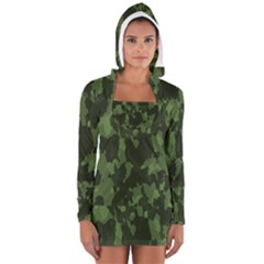 Camouflage Green Army Texture Women s Long Sleeve Hooded T-shirt