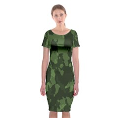 Camouflage Green Army Texture Classic Short Sleeve Midi Dress