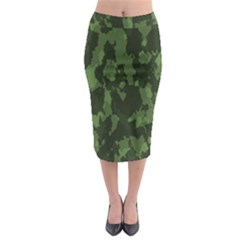 Camouflage Green Army Texture Midi Pencil Skirt