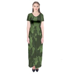 Camouflage Green Army Texture Short Sleeve Maxi Dress