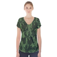 Camouflage Green Army Texture Short Sleeve Front Detail Top