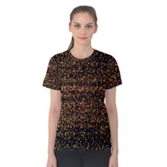 Pixel Pattern Colorful And Glowing Pixelated Women s Cotton Tee