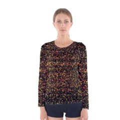 Pixel Pattern Colorful And Glowing Pixelated Women s Long Sleeve Tee