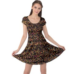 Pixel Pattern Colorful And Glowing Pixelated Cap Sleeve Dresses