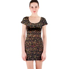 Pixel Pattern Colorful And Glowing Pixelated Short Sleeve Bodycon Dress