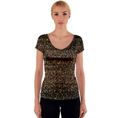 Pixel Pattern Colorful And Glowing Pixelated Women s V-Neck Cap Sleeve Top