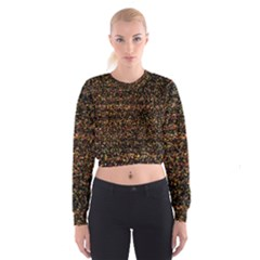 Pixel Pattern Colorful And Glowing Pixelated Women s Cropped Sweatshirt
