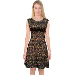 Pixel Pattern Colorful And Glowing Pixelated Capsleeve Midi Dress