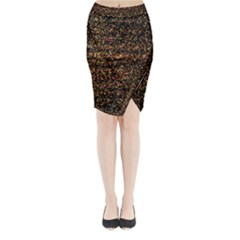 Pixel Pattern Colorful And Glowing Pixelated Midi Wrap Pencil Skirt