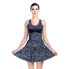 Pixel Colorful And Glowing Pixelated Pattern Reversible Skater Dress