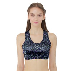Pixel Colorful And Glowing Pixelated Pattern Sports Bra With Border