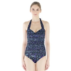 Pixel Colorful And Glowing Pixelated Pattern Halter Swimsuit