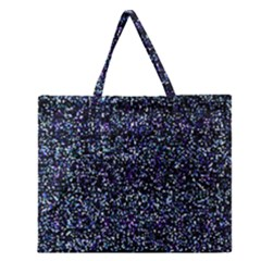 Pixel Colorful And Glowing Pixelated Pattern Zipper Large Tote Bag
