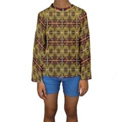 Seamless Symmetry Pattern Kids  Long Sleeve Swimwear
