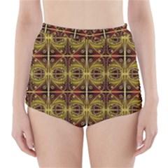 Seamless Symmetry Pattern High-Waisted Bikini Bottoms
