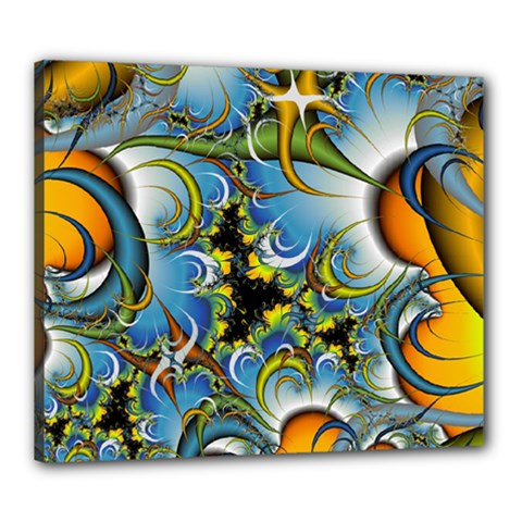 Fractal Background With Abstract Streak Shape Canvas 24  X 20