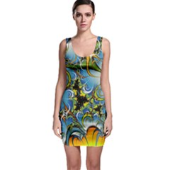 Fractal Background With Abstract Streak Shape Sleeveless Bodycon Dress