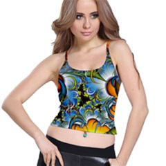 Fractal Background With Abstract Streak Shape Spaghetti Strap Bra Top