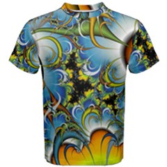 Fractal Background With Abstract Streak Shape Men s Cotton Tee