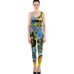 Fractal Background With Abstract Streak Shape Onepiece Catsuit