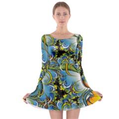 Fractal Background With Abstract Streak Shape Long Sleeve Skater Dress