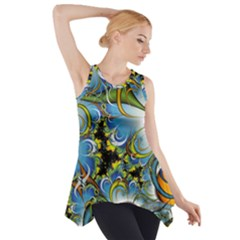Fractal Background With Abstract Streak Shape Side Drop Tank Tunic