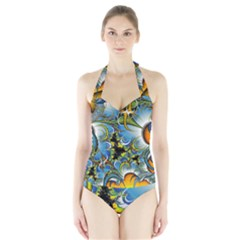 Fractal Background With Abstract Streak Shape Halter Swimsuit