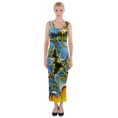 Fractal Background With Abstract Streak Shape Fitted Maxi Dress